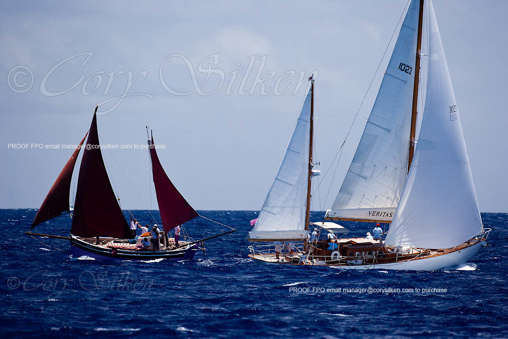 Veritas sailing in the Old Road Race at the Antigua Classic Yacht Regatta.