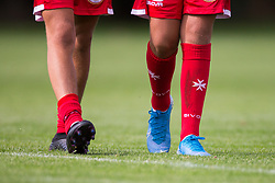 WREXHAM, WALES - Thursday, August 15, 2019: The Maltese cross on the socks of the Malta players during the UEFA Under-15's Development Tournament match between Cyprus and Malta at Colliers Park. (Pic by Paul Greenwood/Propaganda)