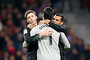 Sevilla's French defender Clement Lenglet celebrates during the Spanish Cup, Copa del Rey quarter final, 1st leg football match between Atletico Madrid and Sevilla FC on January 17, 2018 at Wanda Metropolitano stadium in Madrid, Spain - Photo Benjamin Cremel / ProSportsImages / DPPI
