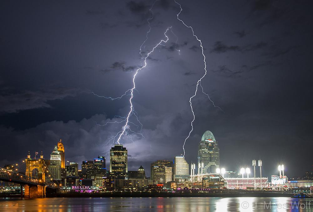 Dramatic Nighttime shot of the Cincinnati Skyline during a Lightning Storm
