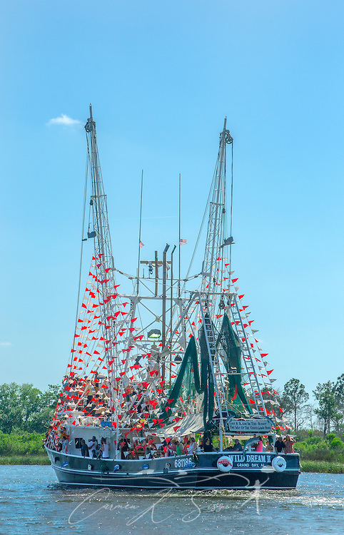 """A decorated shrimp boat, """"Wild Dream II,"""" cruises down the bayou during the 66th annual Blessing of the Fleet in Bayou La Batre, Alabama, May 3, 2015. The first fleet blessing was held by St. Margaret's Catholic Church in 1949, carrying on a long European tradition of asking God's favor for a bountiful seafood harvest and protection from the perils of the sea. The highlight of the event is a blessing of the boats by the local Catholic archbishop and the tossing of a ceremonial wreath in memory of those who have lost their lives at sea. The event also includes a land parade and a parade of decorated boats that slowly cruise through the bayou. (Photo by Carmen K. Sisson/Cloudybright)"""