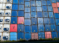 Storage of shipping containers in the port of Rotterdam, Netherlands.