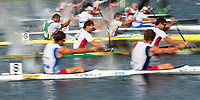 Competitors at start, Canoe Sprint Olympic Test Event,men's 200m K2, Eton Dorney Lake Eton Dorney, England,
