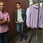 WASHINGTON, DC - AUG5: (L-R) Pranav Vora and Philip Soriano, the co-founders of Hugh & Crye, outside their offices in Georgetown, Washington, DC, August 5, 2016. Hugh & Crye is a DC based menswear company. (Photo by Evelyn Hockstein/For The Washington Post)
