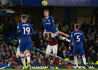 Football - 2019 / 2020 Premier League - Chelsea vs. Burnley<br /> <br /> Andreas Christensen (Chelsea FC) rises high over Chris Woods (Burnley FC) to reach the high ball at Stamford Bridge <br /> <br /> COLORSPORT/DANIEL BEARHAM