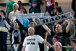 Partizan Belgrade fans during first semi-final match of Basketball NLB League at Final four tournament between KK Partizan mt:s, Belgrade, Serbia and KK Buducnost m:tel, Podgorica, Montenegro, on April 19, 2011 at SRC Stozice, Ljubljana, Slovenia. (Photo By Matic Klansek Velej / Sportida.com)