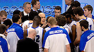 St. Louis  University basketball coach Rick Majerus talks with his team during a 30-second timeout in the second half of the Billikens' 66-46 Atlantic 10 win over Fordham University at Chaifetz Arena on the St. Louis University campus Saturday, Feb. 18, 2012 in St. Louis. Photo © copyright 2012 Sid Hastings.