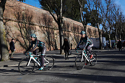 Maria Vittoria Sperotto (ITA) and Leah Thomas (USA) make their way from sign on at Strade Bianche - Elite Women 2019, a 136 km road race starting and finishing in Siena, Italy on March 9, 2019. Photo by Sean Robinson/velofocus.com