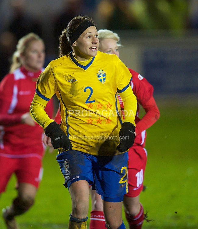 BROUGHTON, ENGLAND - Wednesday, March 31, 2010: Sweden's Charlotte Rohlin in action against Wales during the FIFA Women's World Cup 2011 Qualifying Group 8 match at the Airfeld. (Pic by David Rawcliffe/Propaganda)