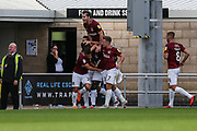 Northampton Towns Aaron Pierre(16) scores a goal 1-1 and celebrates during the EFL Sky Bet League 2 match between Northampton Town and Forest Green Rovers at Sixfields Stadium, Northampton, England on 13 October 2018.