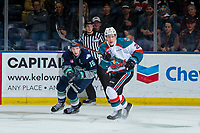 KELOWNA, CANADA - JANUARY 30: Noah Philp #16 of the Seattle Thunderbirds checks Lassi Thomson #2 of the Kelowna Rockets  on January 30, 2019 at Prospera Place in Kelowna, British Columbia, Canada.  (Photo by Marissa Baecker/Shoot the Breeze)
