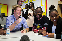 Client: Invictus / Good Relations. Prince Harry visits Bethnal Green Academy. Photo: David Poultney