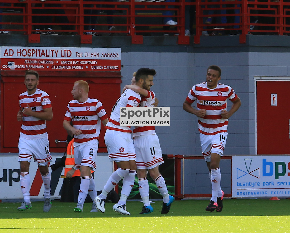 The two goalscorers Hamilton Academical's Ali Crawford and Hamilton Academical's Jesús García Tena celebrate the winning goal during the Hamilton Academical FC  V Heart of Midlothian FC Scottish Premiership 29th August 2015  ©Edward Linton | SportPix.org.uk