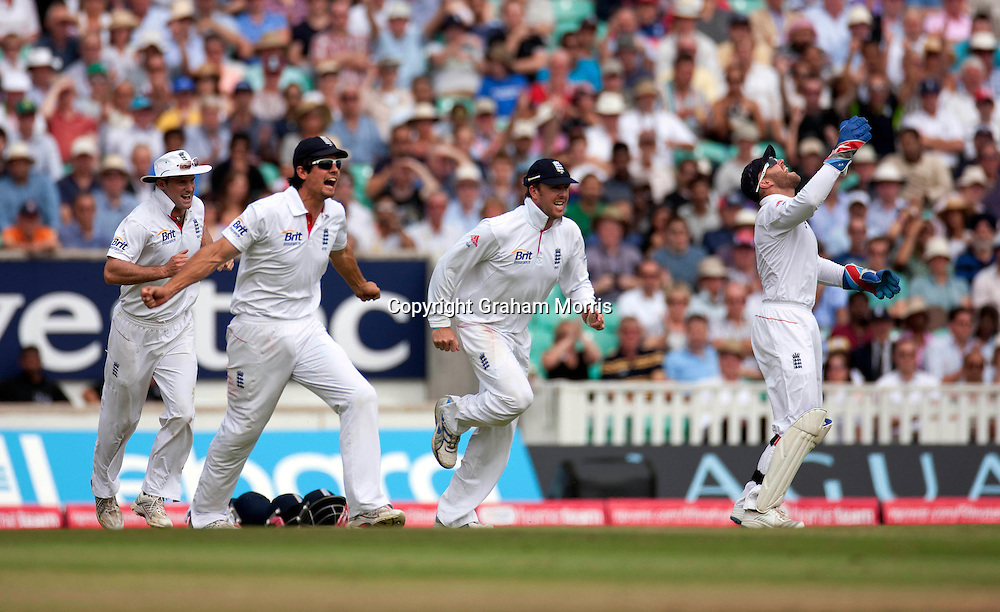 Celebrations as Mahendra Singh Dhoni is caught by wicket keeper Matt Prior off James Anderson during the fourth and final npower Test Match between England and India at the Oval, London.  Photo: Graham Morris (Tel: +44(0)20 8969 4192 Email: sales@cricketpix.com) 21/08/11