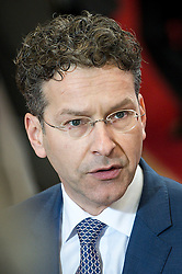 Eurogroup President Dutch Finance Minister Jeroen Dijsselbloem talks to the press prior to the emergency Eurogroup finance ministers meeting at the European Council in Brussels, Belgium on 20.02.2015 Eurogroup head Jeroen Dijsselbloem was working overtime on February 20 to save a make-or-break meeting on Greece's demand to ease its bailout programme as Germany insisted it stick with its austerity commitments after days of sharp exchanges, the 19 eurozone finance ministers gathered for the third time in little over a week to consider Athens' take-it or leave-it proposal to extend an EU loan programme which expires this month. by Wiktor Dabkowski. EXPA Pictures © 2015, PhotoCredit: EXPA/ Photoshot/ Wiktor Dabkowski<br /> <br /> *****ATTENTION - for AUT, SLO, CRO, SRB, BIH, MAZ only*****