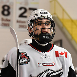 GEORGETOWN, ON - JANUARY 12: Georgetown Raiders player on January 12, 2019 at Gordon Alcott Memorial Arena in Georgetown, Ontario, Canada.<br /> (Photo by Ken Lamb / OJHL Images)