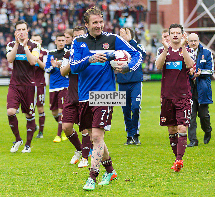 Hearts v Kilmarnock Scottish Premiership 4 May 2014; Ryan Stevenson leads the lap of honour after scoring a hat-trick against Kilmarnock