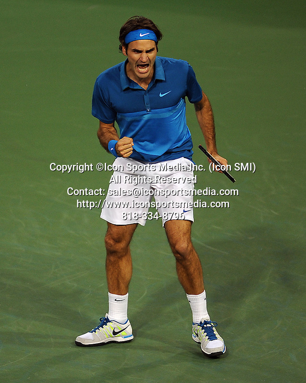 17 MAR, 2012: Roger Federer (SUI) reacts after winning a point during a semi-final match against Rafael Nadal (ESP) during the BNP Paribas Open played at the Indian Wells Tennis Garden in Indian Wells, CA.