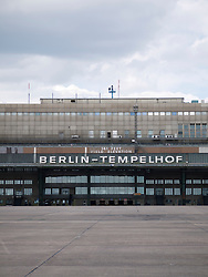 Old terminal building at new city public Tempelhofer Park on site of famous former Tempelhof Airport in Berlin Germany
