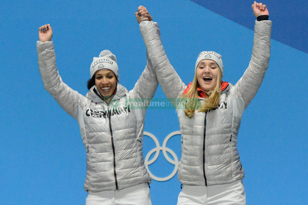 February 22, 2018 - Pyeongchang, South Korea - Mariama Jamanka and Annika Drazek of Germany celebrate winning the  gold medal in the Women's Bobsleigh event in the PyeongChang Olympic Games. (Credit Image: © Christopher Levy via ZUMA Wire)