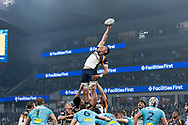 SYDNEY, AUSTRALIA - JUNE 08: Brumbies player Rory Arnold (4) goes up for the ball at week 17 of Super Rugby between NSW Waratahs and Brumbies on June 08, 2019 at Western Sydney Stadium in NSW, Australia. (Photo by Speed Media/Icon Sportswire)