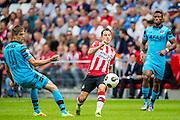 EINDHOVEN - 14-08-2016, PSV - AZ, Philips Stadion, AZ speler Markus Henriksen, PSV speler Andres Guardado, AZ speler Fred Friday