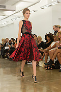 Red and black floral print dress. By Carmen Marc Valvo at the Spring 2013 Fashion Week show in New York.