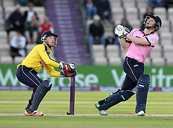 Middlesex's Eoin Morgan watches as he skies a shot off the bowling of Hampshire's Will Smith - Photo mandatory by-line: Robbie Stephenson/JMP - Mobile: 07966 386802 - 04/06/2015 - SPORT - Cricket - Southampton - The Ageas Bowl - Hampshire v Middlesex - Natwest T20 Blast