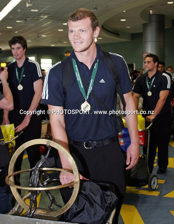 New Zealand captain Chris Smith at the arrival of the NZ U19 team after winning the U19 Rugby World Cup, at Auckland Airport, on Tuesday 24 April 2007. Photo: Renee McKay/PHOTOSPORT<br />