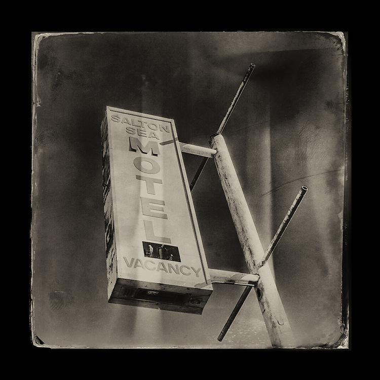 "Charles Blackburn image of the Salton Sea Motel sign in CA. 5x5"" print."