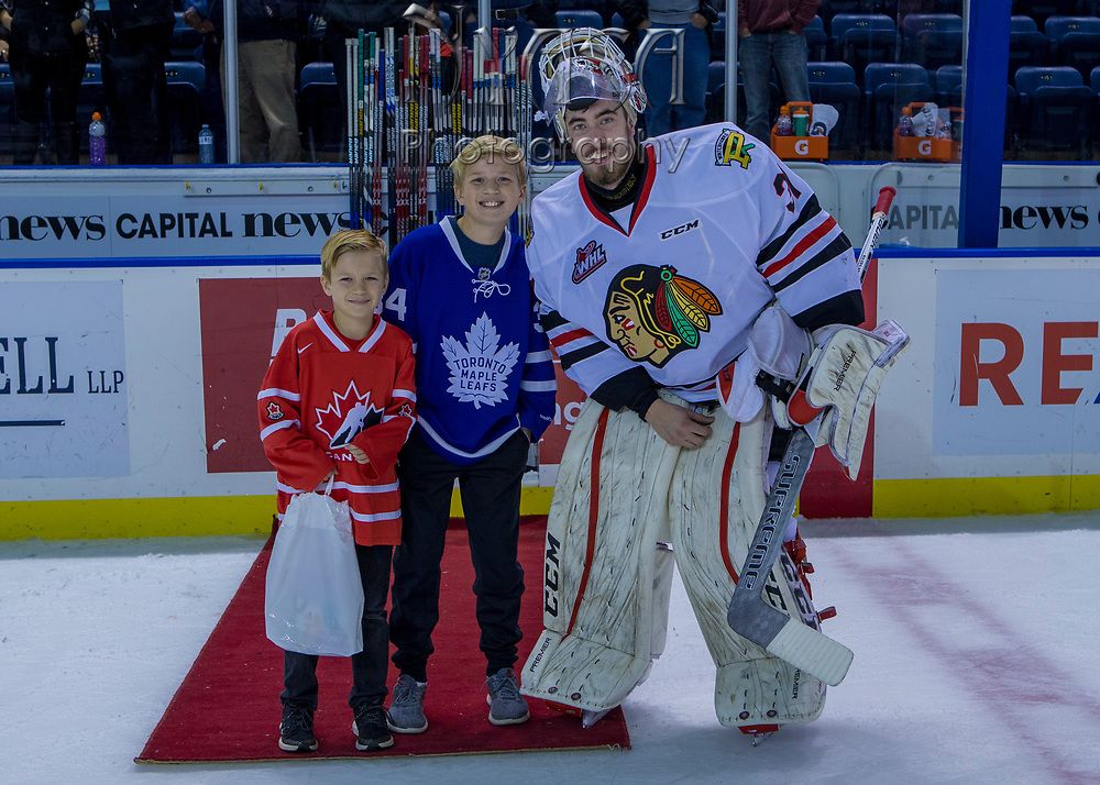 KELOWNA, CANADA - OCTOBER 22:  Third Star of the Game Cole Kehler #31 of the Portland Winterhawks at the Kelowna Rockets game on October 22, 2017 at Prospera Place in Kelowna, British Columbia, Canada.  (Photo By Cindy Rogers/Nyasa Photography,  *** Local Caption ***