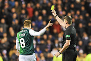 8 Vykintas Slivka disputes his yellow card during the Ladbrokes Scottish Premiership match between Hibernian and Rangers at Easter Road, Edinburgh, Scotland on 19 December 2018.