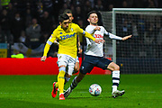 Pablo Hernandez of Leeds United (19) and Alan Browne of Preston North End (8) in action during the EFL Sky Bet Championship match between Preston North End and Leeds United at Deepdale, Preston, England on 9 April 2019.