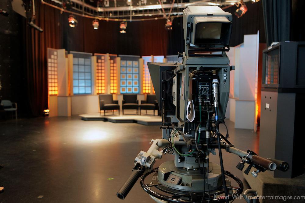 USA, Massachusetts, Boston. On the set of Greater Boston at WGBH studios.