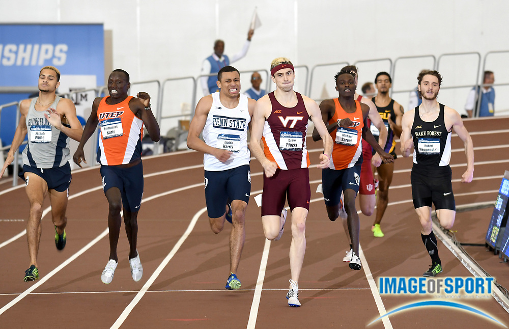 Mar 11, 2017; College Station, TX, USA; Emmanuel Korri of UTEP (second from left) wins the 800m in 1:47.48 during the NCAA Indoor Track and Field Championships at the Rhonda and Frosty Gilliam Jr. Indoor Track Stadium at the McFerrin Athletic Center. From left: Joseph White (Georgetown), Korrir, Isaiah Harris (Penn State), Drew Piazza (Virginia Tech), Michael Saruni (UTEP) and Robert Heppenstall (Wake Forrest).