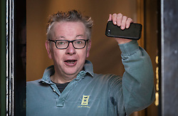 © Licensed to London News Pictures. 05/02/2018. London, UK. Environment Sectetary Michael Gove waves to photographers after returning from a run from home. Later Brexit Secretary David Davis will meet with European Commission's Chief Negotiator Michel Barnier in Downing Street for talks. Photo credit: Peter Macdiarmid/LNP