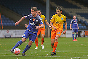 Halifax Town midfielder, on loan from Notts County, Nicky Wroe   and Wycombe Wanderers midfielder Luke ONien   during the The FA Cup match between FC Halifax Town and Wycombe Wanderers at the Shay, Halifax, United Kingdom on 8 November 2015. Photo by Simon Davies.