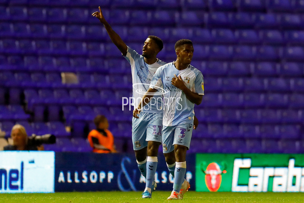 Coventry City forward Jordy Hiwula (11) scores a goal and celebrates to make the score 1-1 during the EFL Sky Bet League 1 match between Coventry City and AFC Wimbledon at the Trillion Trophy Stadium, Birmingham, England on 17 September 2019.