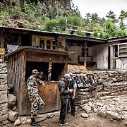 NEPAL. Everest Region, Phakding. May 20th, 2012. Army check post.