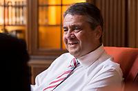 22 SEP 2017, BERLIN/GERMANY:<br /> Sigmar Gabriel, SPD, Bundeswirtschaftsminister, waehrend einem Interview, Villa Borsig<br /> IMAGE: 20170922-01-013