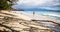 A lone woman standing in the shallow waves on a beach looking out to sea. Maui, Hawaii, USA.
