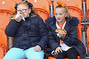 Young fans enjoying the food during the EFL Sky Bet League 1 match between Blackpool and Rochdale at Bloomfield Road, Blackpool, England on 26 September 2017. Photo by Daniel Youngs.