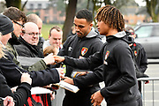 Callum Wilson (13) of AFC Bournemouth and Nathan Ake (5) of AFC Bournemouth signing autographs on arrival before the Premier League match between Bournemouth and Tottenham Hotspur at the Vitality Stadium, Bournemouth, England on 11 March 2018. Picture by Graham Hunt.
