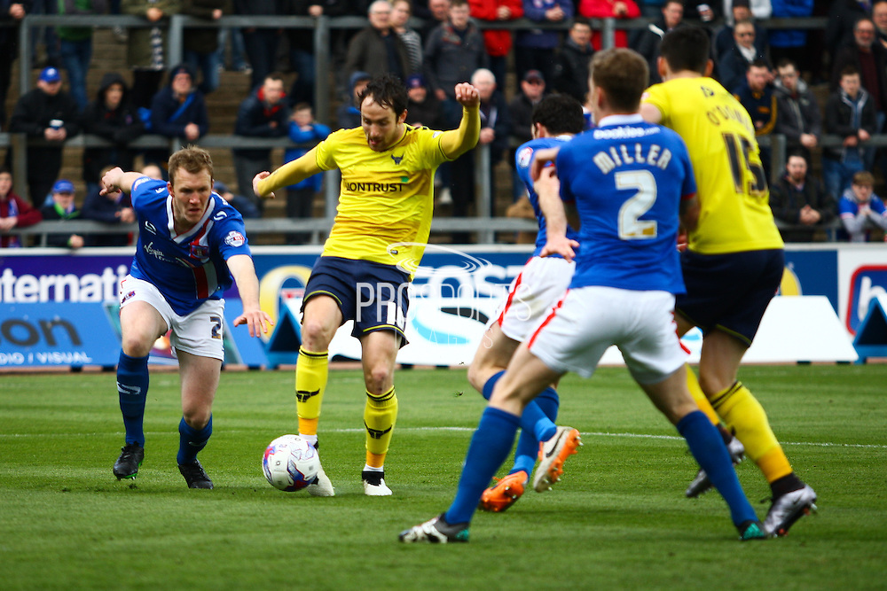 Oxford forward Danny Hylton on the attack during the Sky Bet League 2 match between Carlisle United and Oxford United at Brunton Park, Carlisle, England on 30 April 2016. Photo by Craig McAllister.