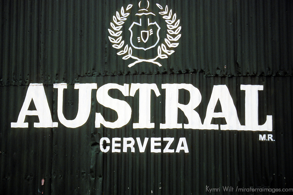 Americas, South America, Chile, Puerto Natales. Advertising the local Chilean beer, Austral cerveza.