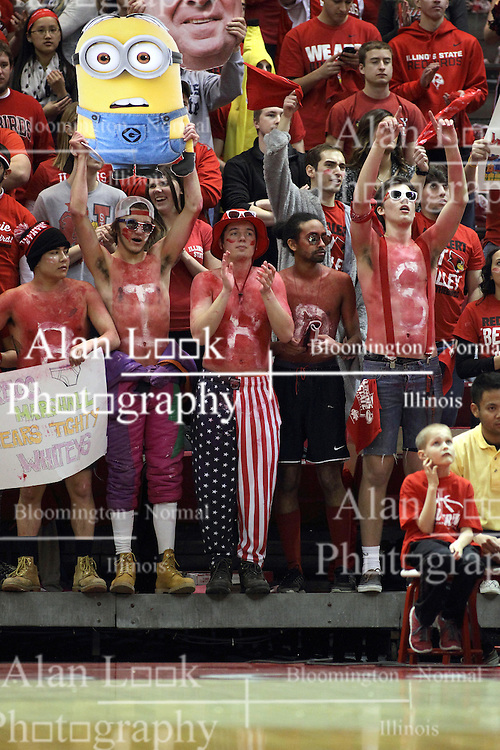 14 February 2015:   The Red Alert Fans section goes wild with dress that includes strange pants, rugged boots, suspenders, paint and signs during an NCAA MVC (Missouri Valley Conference) men's basketball game between the Wichita State Shockers and the Illinois State Redbirds at Redbird Arena in Normal Illinois