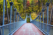Popolopen Suspension Footbridge at Bear Mountain State Park, New York, USA.