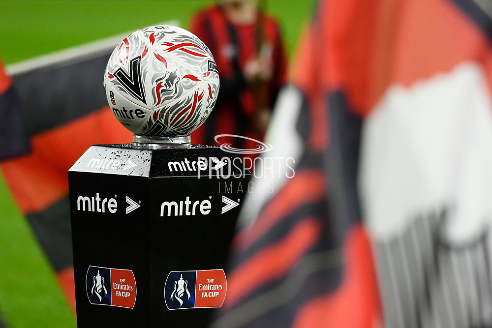 The match ball on its stand ahead of the The FA Cup match between Bournemouth and Arsenal at the Vitality Stadium, Bournemouth, England on 27 January 2020.