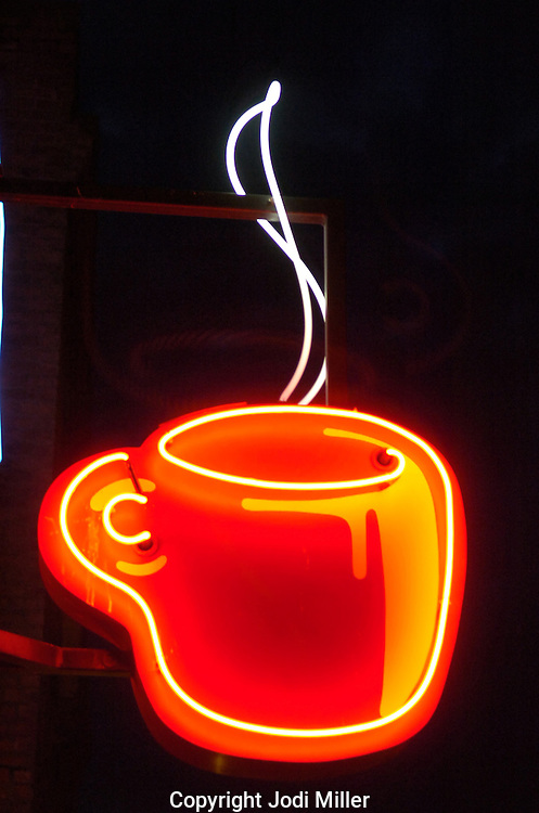 Neon coffee cup at the Public Market in Seattle