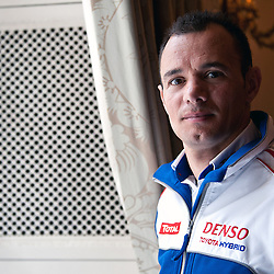 Stephane Sarrazin, who will be driving the Toyota TS030 hybrid, at the window of the Royal Automobile Club contemplating the first race at Silverstone at the FIA-WEC series launch London on the 22nd March 2013. WAYNE NEAL | STOCKPIX.EU